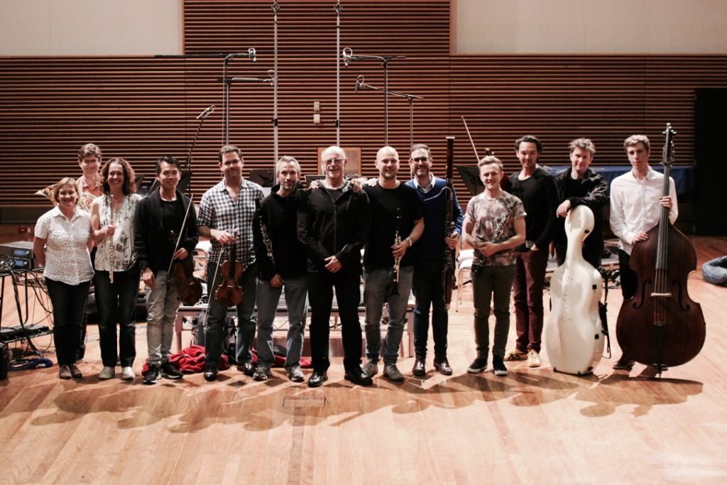 "The Omega Ensemble recording Palmer's ""Concerto for Two Clarinets and Chamber Orchestra - It Takes Two"" for ABC Classics at the Eugene Goossens Hall, Sydney, on 26 September 2016, with soloists Dimitri Ashkenazy and David Rowden, and producer Victoria Read."